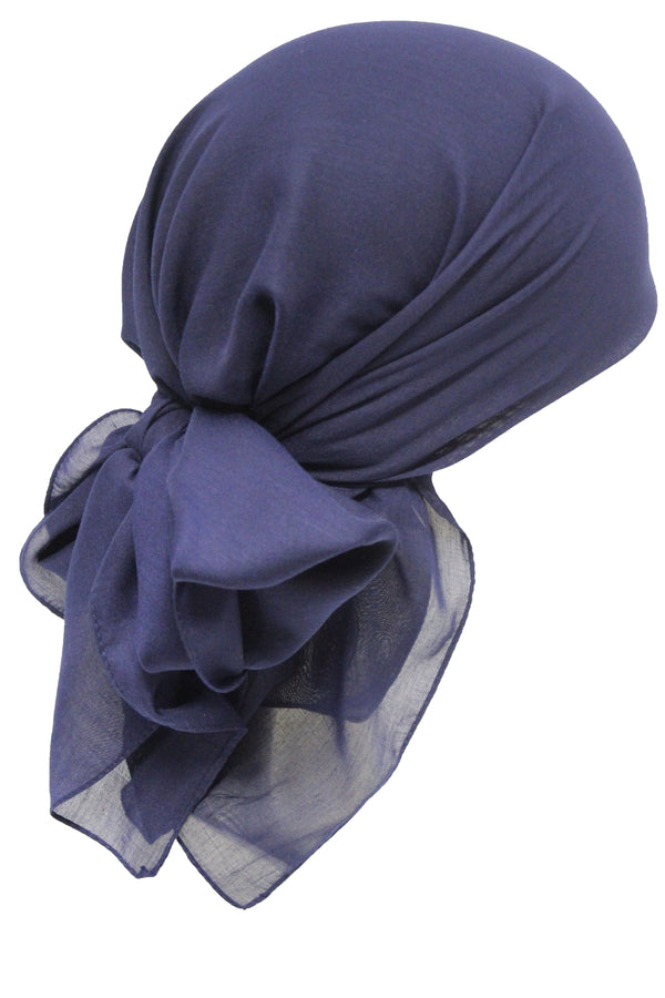 Deresina Everyday square chemo headscarf navy