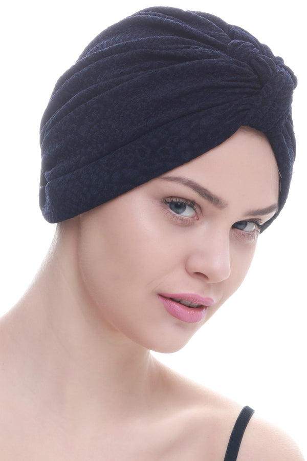Deresina Brocade w turban for chemo navy