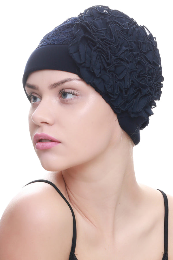 Deresina Lace hairloss headwear with ruffle flower navy