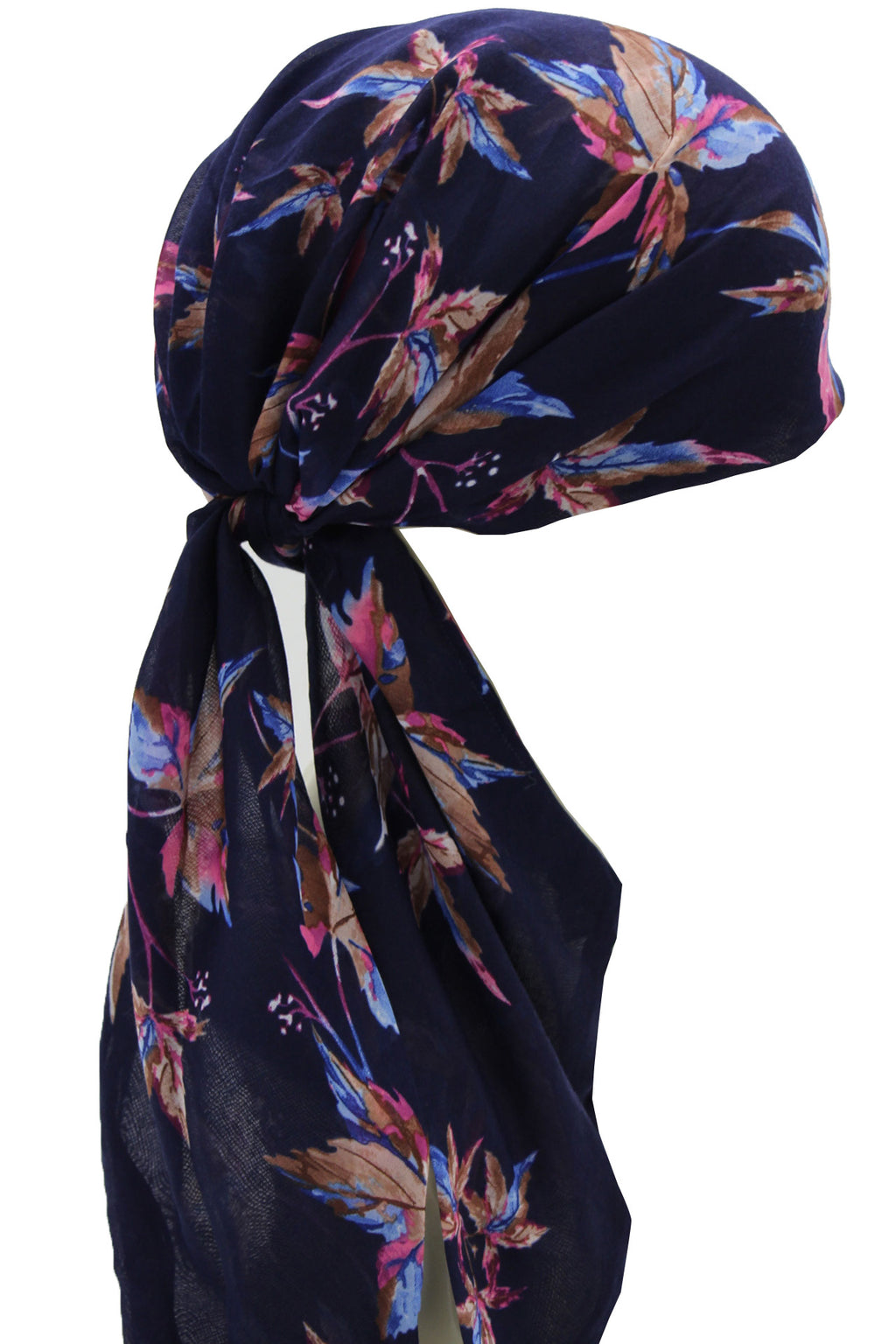 Easy Tie Head Scarf  (22-Navy Leaves)
