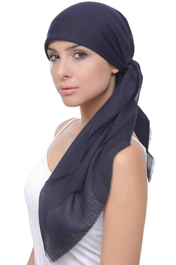 Deresina Four Seasons Plain Square Chemo Headscarf Navy Wafel Texture