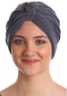 Deresina Pleated w pattern turban for chemo grey