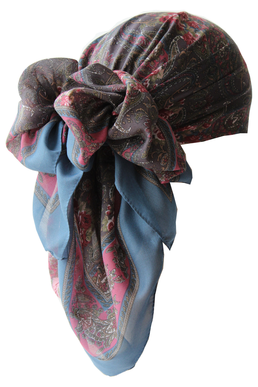 Everyday Square Head Scarf - Pale Blue Paisley