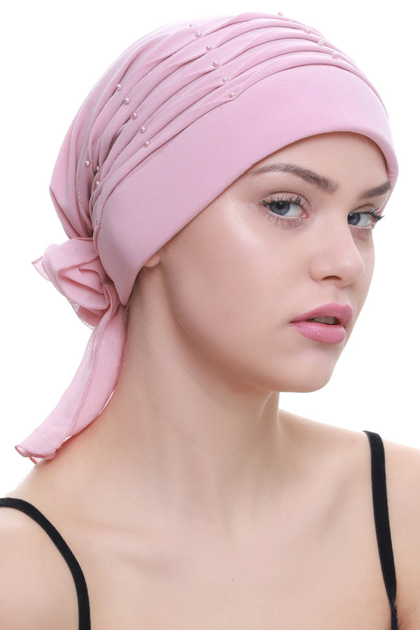 Deresina Twisted pleated cancer headwear powder pink