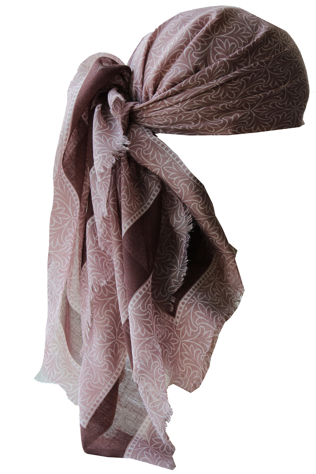Special Fringed Trim Square Headscarf- Pinky Mink