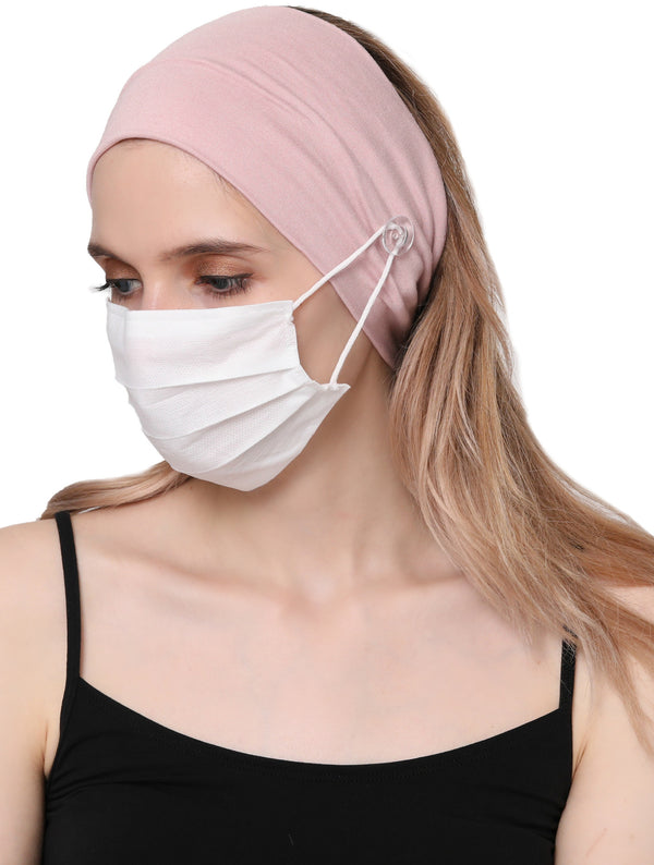 Clear Button Plain Headband for Mask-Powder
