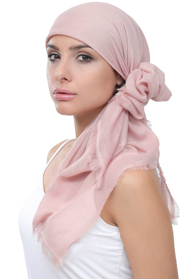 Seasonal Head Scarf - Linum Powder with Edges