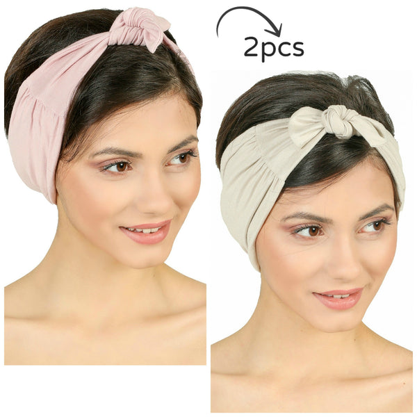 Bow Tie Headband-Powder/Taupe