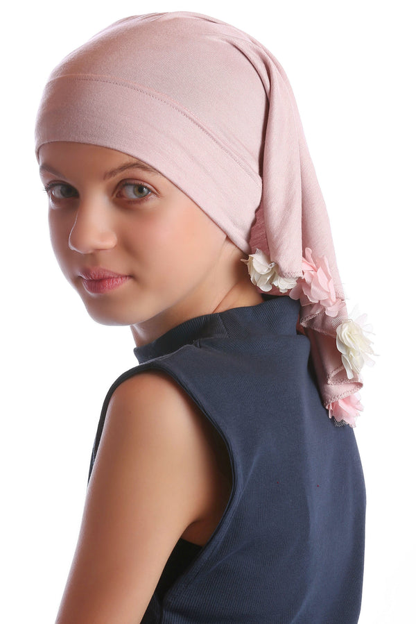 No Tie Bandana for Youth - Powder Rosa with Flowers