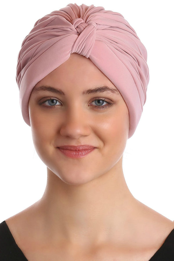 Deresina Pleated w pattern turban for chemo powder pink
