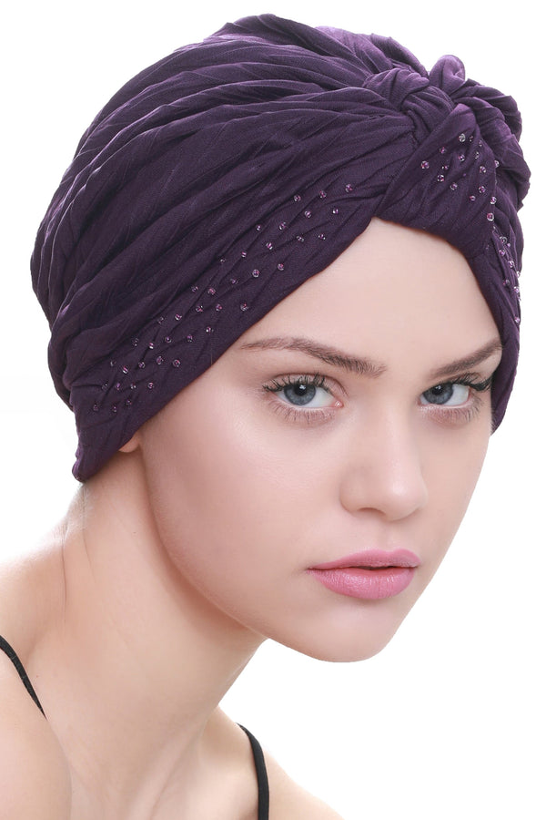 Deresina Beaded w turban for hairloss purple