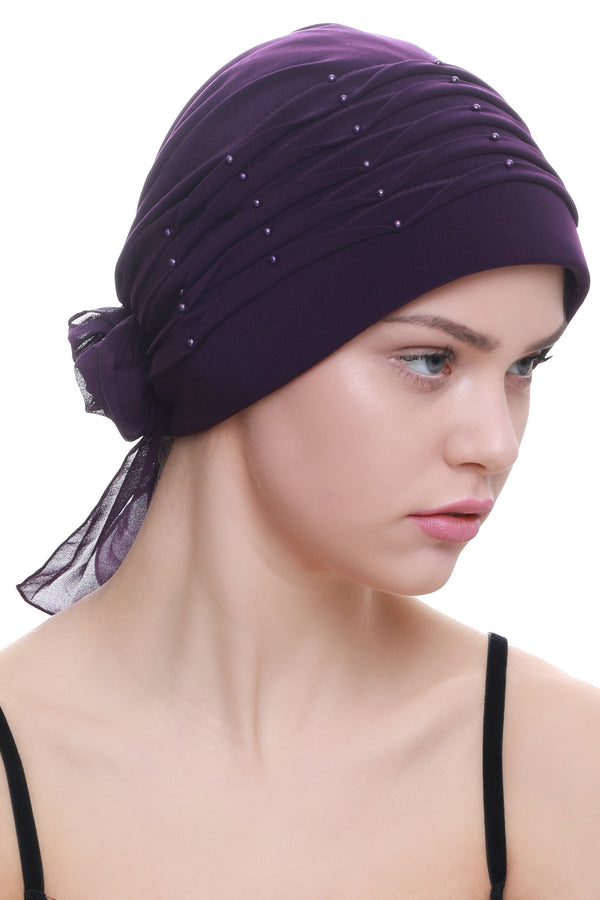 Deresina Twisted pleated cancer headwear purple