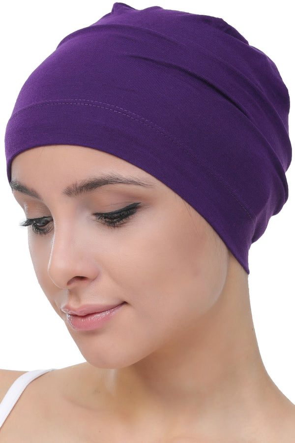 Deresina Unisex chemo sleep cap purple