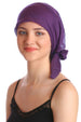 Deresina Easy tie organic chemo headscarf purple