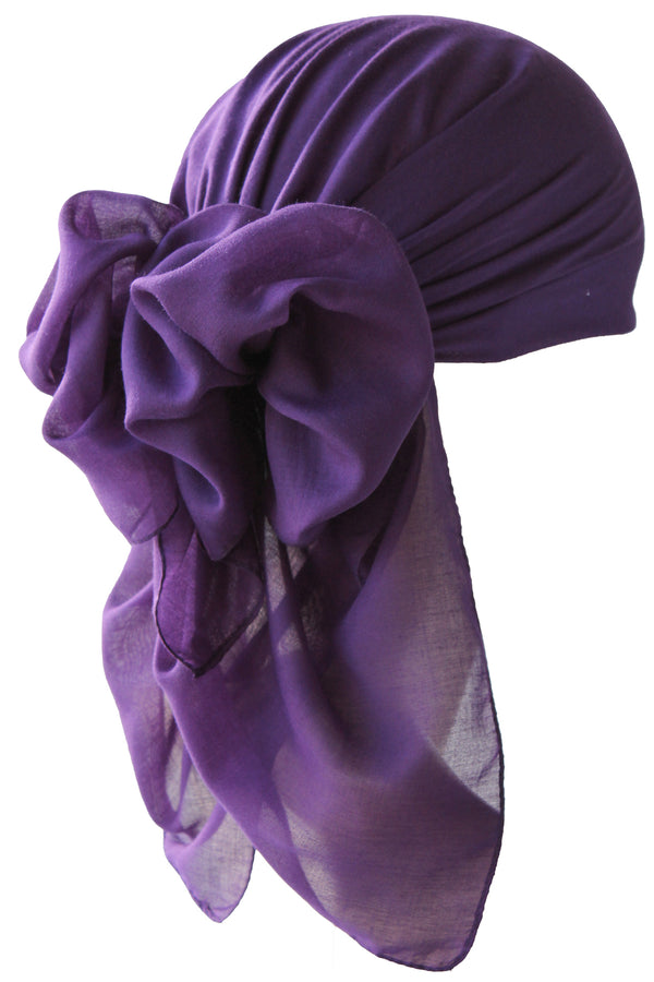NEW-Plain Square Headscarf- Purple