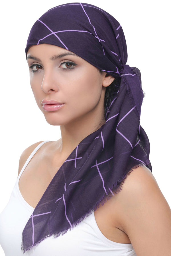 Four Seasons Head Scarf - Purple Pink Tartan