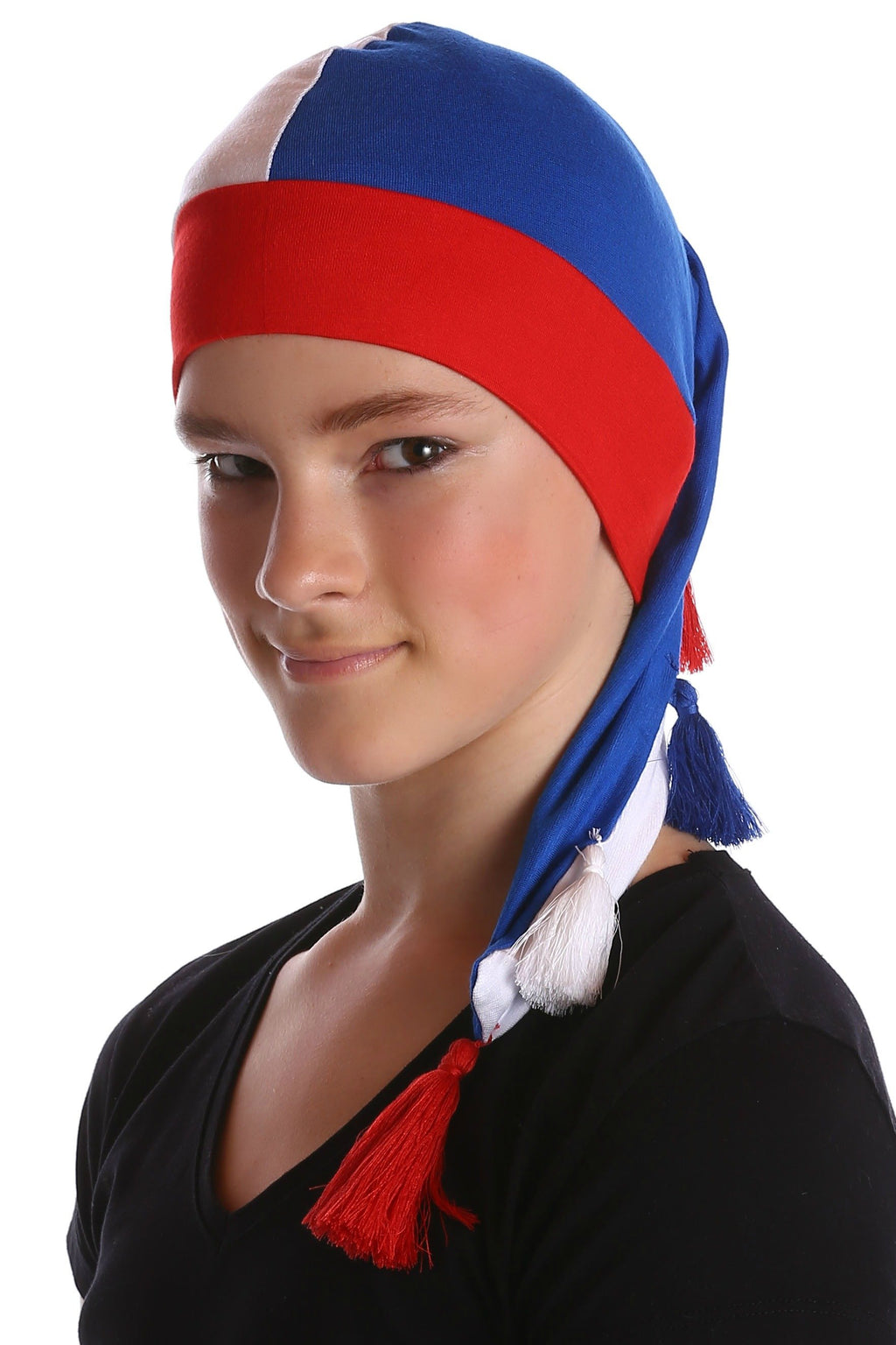 Deresina elf beanie for hairloss blue white red