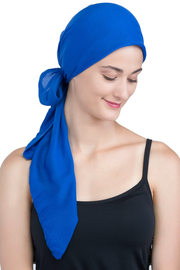 Easy Tie Organic Head Scarf - Royal Blue
