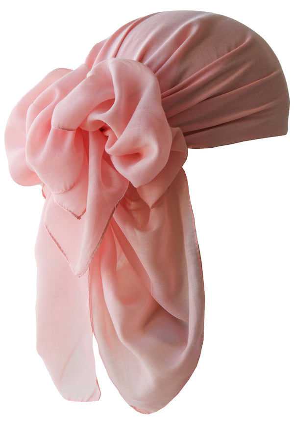 NEW-Plain Square Headscarf- Salmon