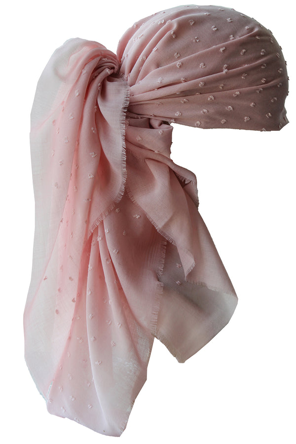 Special Fringed Trim Square Headscarf- T Weeny Soft Pink