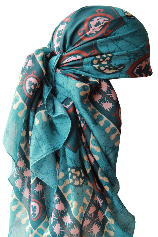 Large Square Head Scarf  - Spring Green