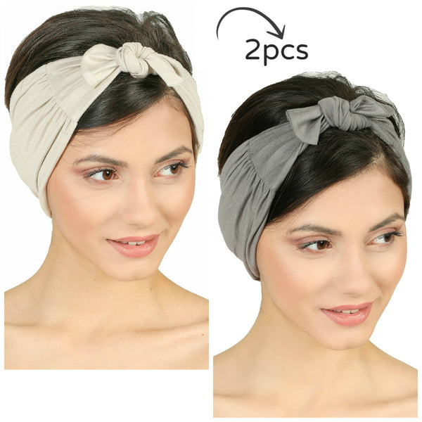 Bow Tie Headband-Taupe/Grey