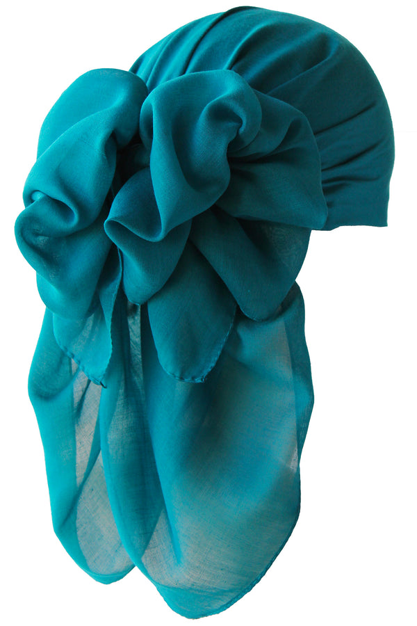 NEW-Plain Square Headscarf- Teal