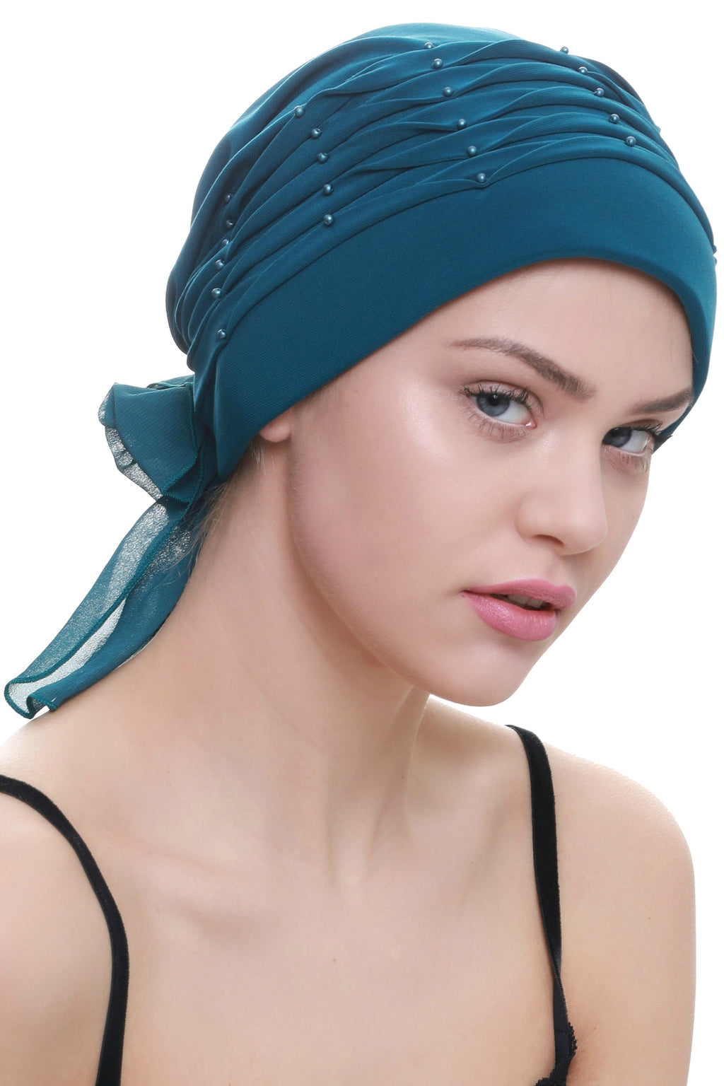 Deresina Twisted pleated cancer headwear teal