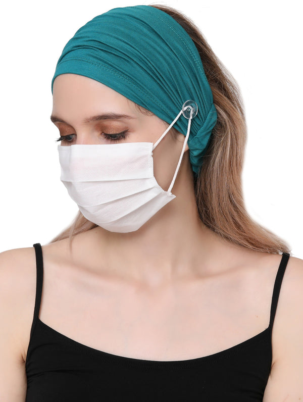 Stretchy Headband for Mask - Teal
