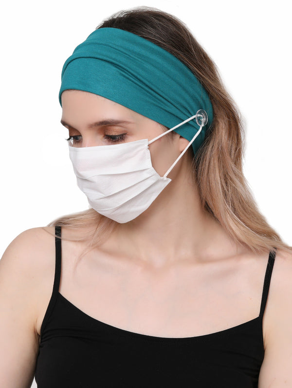 Clear Button Plain Headband for Mask-Teal
