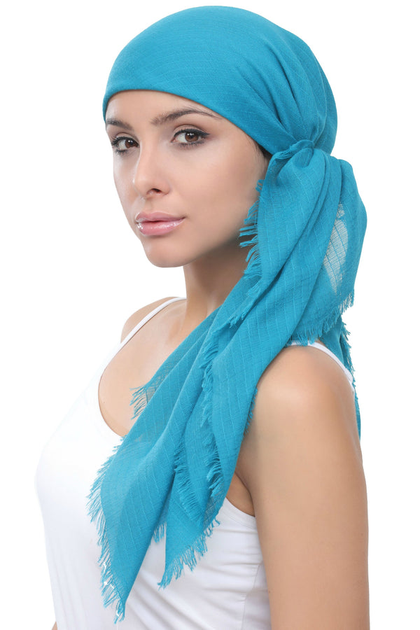 Deresina Four Seasons Plain Square Chemo Headscarf Teal Wafel Texture