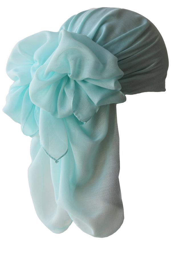 NEW-Plain Square Headscarf- Water Green