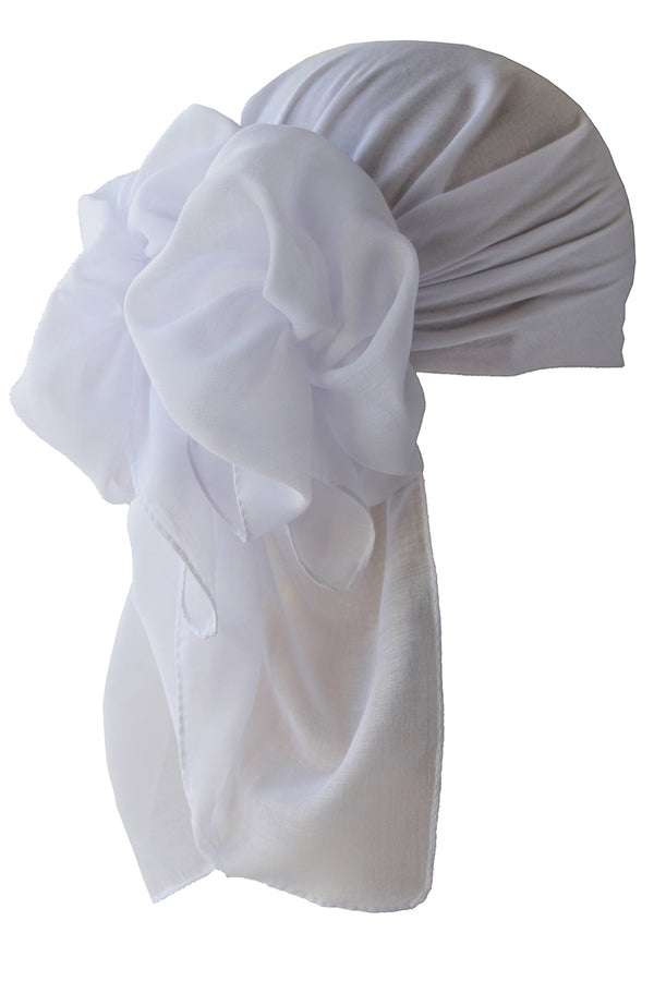 NEW-Plain Square Headscarf- White