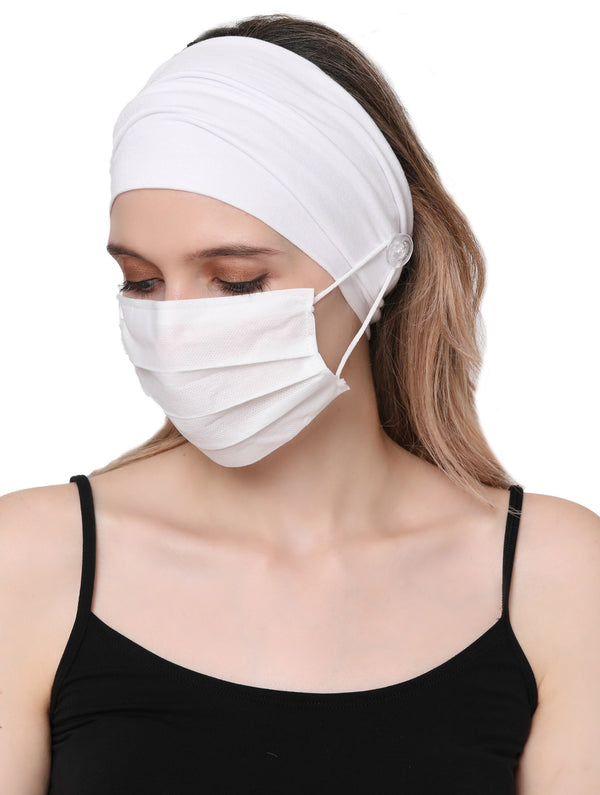 Clear Button Plain Headband for Mask-White
