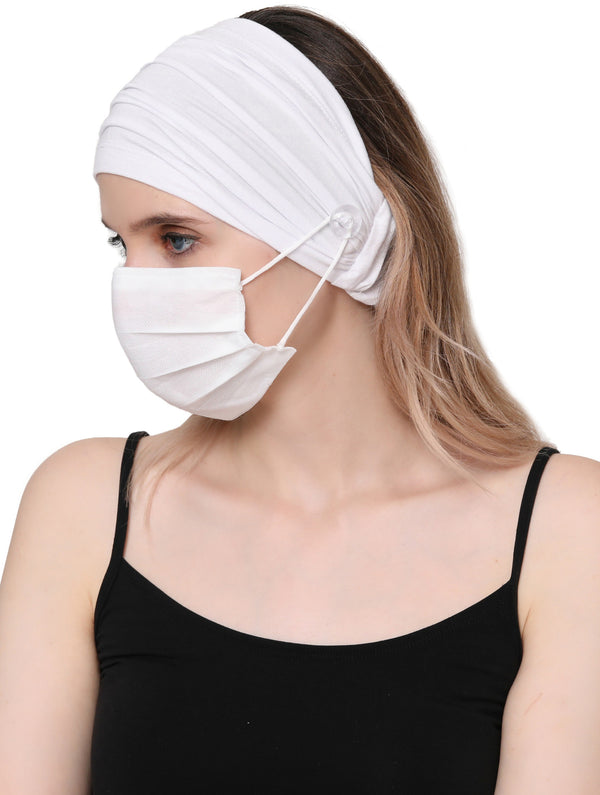 Stretchy Headband for Mask - White