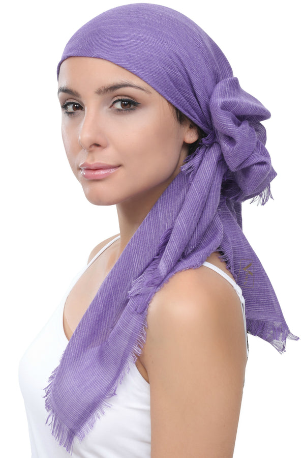 Seasonal  Head Scarf - Wisteria with Edges