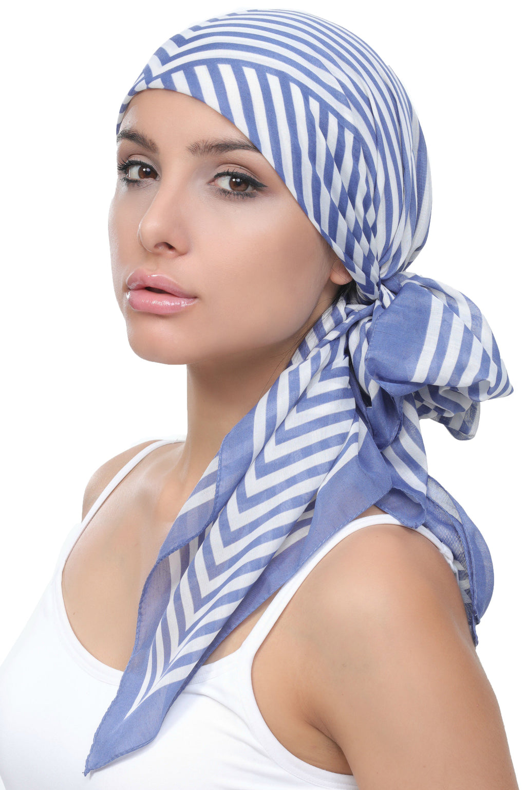 Deresina Everyday square chemo headscarf wisteria cream striped