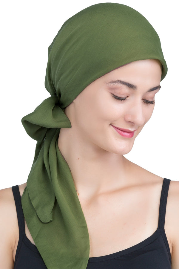Easy Tie Organic Head Scarf - Olive
