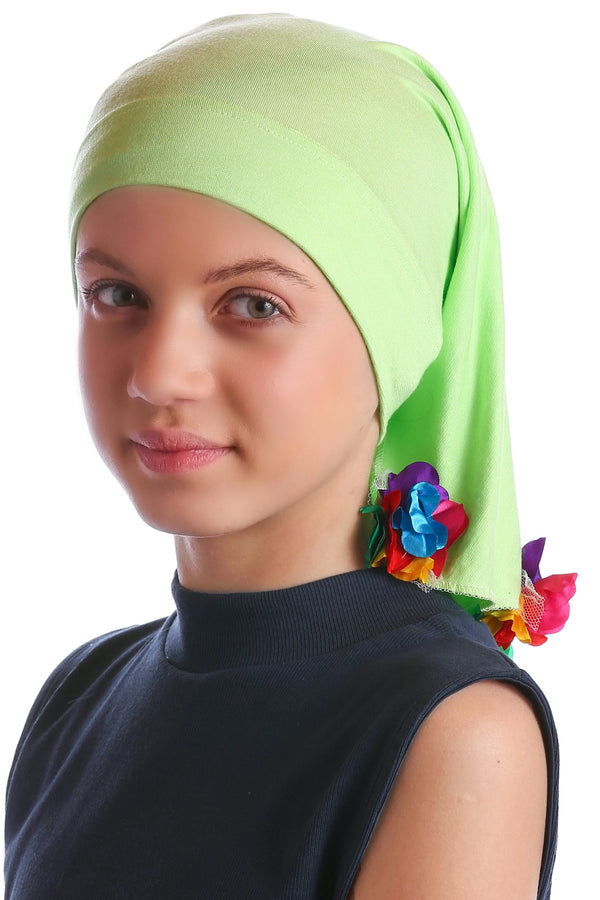 No Tie Bandana for Youth - Apple Green with Flower