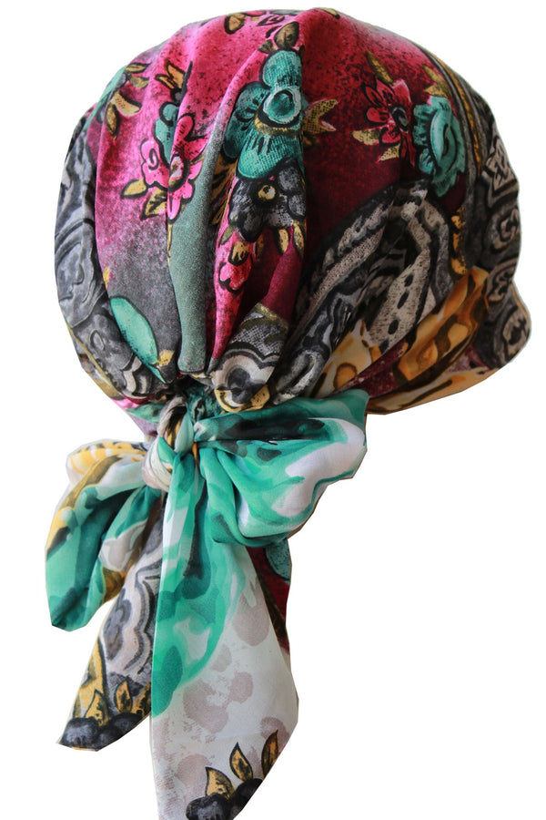 Deresina Easy tie chemo headscarf grey aqua floral patterned