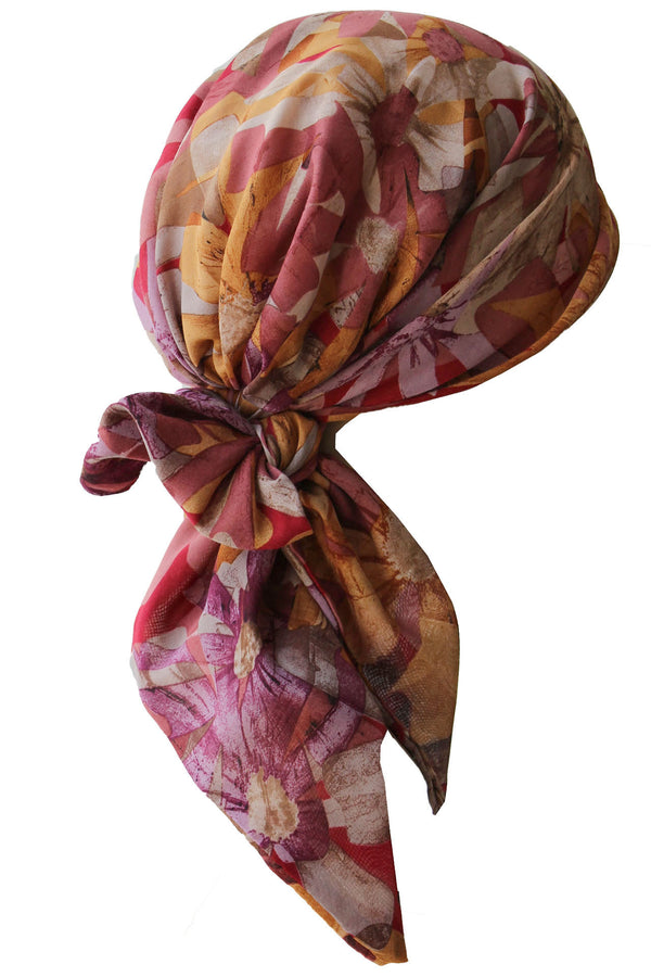 Easy Tie Head scarf  (Autumn Leaves)