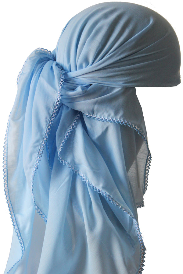 Crochet Edges Soft Head Scarf - Baby Blue