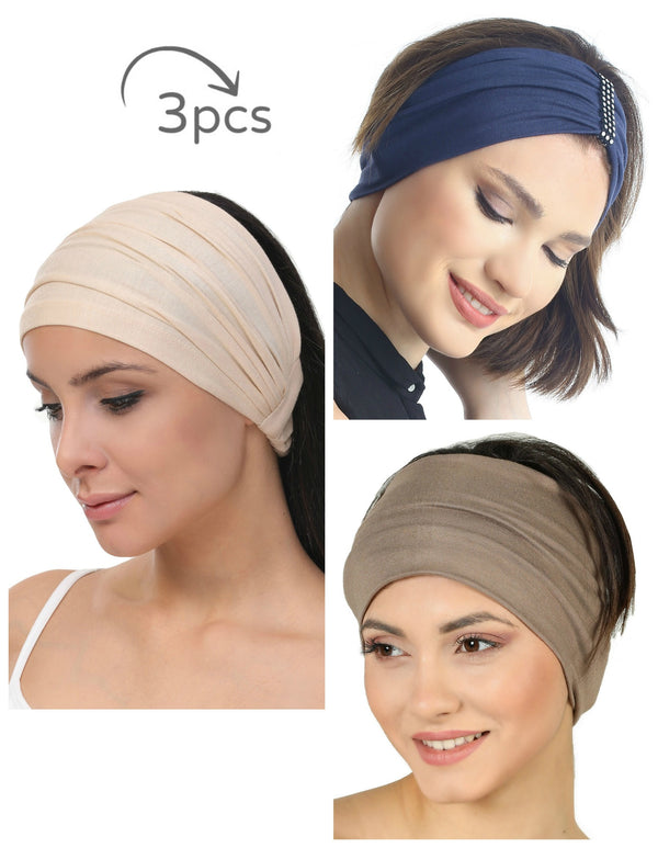 3 Pieces Headband -Beige-Denim-Mink