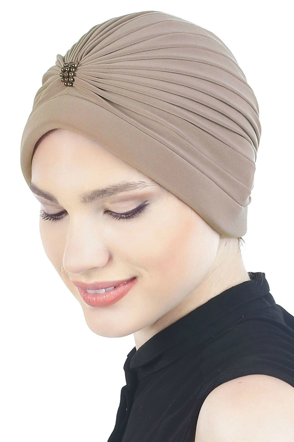 Deresina Pearl detail turban for cancer patients beige