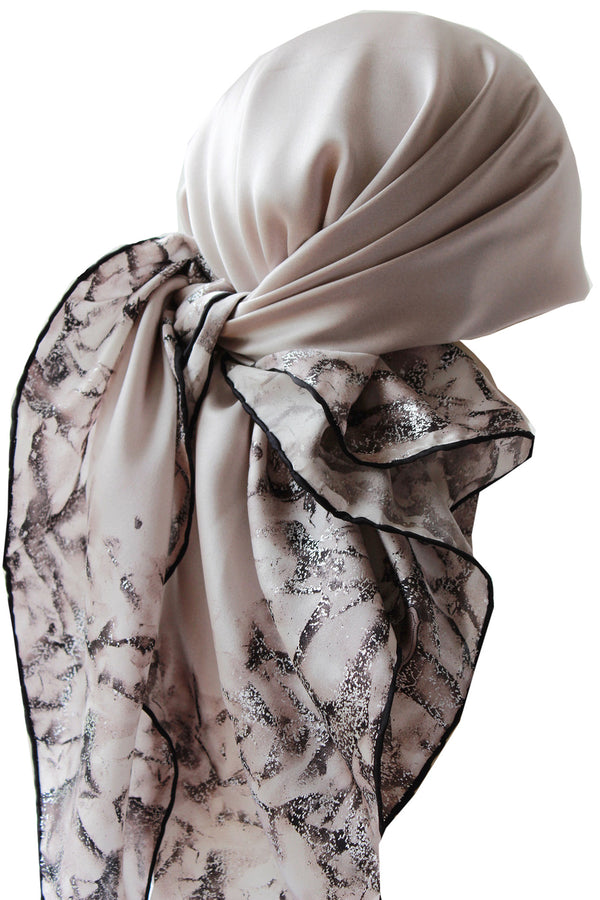 Silver Leaf 100% Silk Scarves for Women (Beige/Cacao)