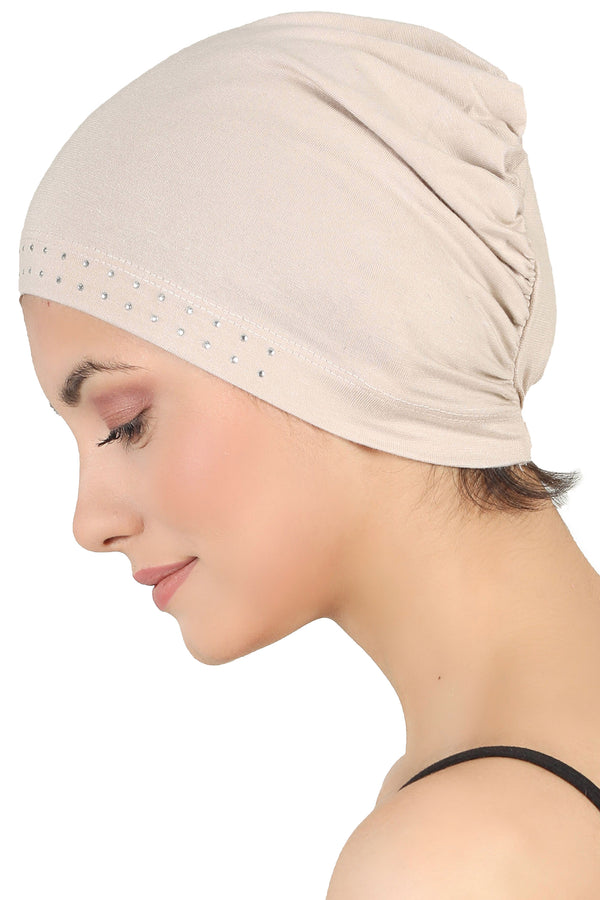 Jewelled Front Essential Cap - Taupe