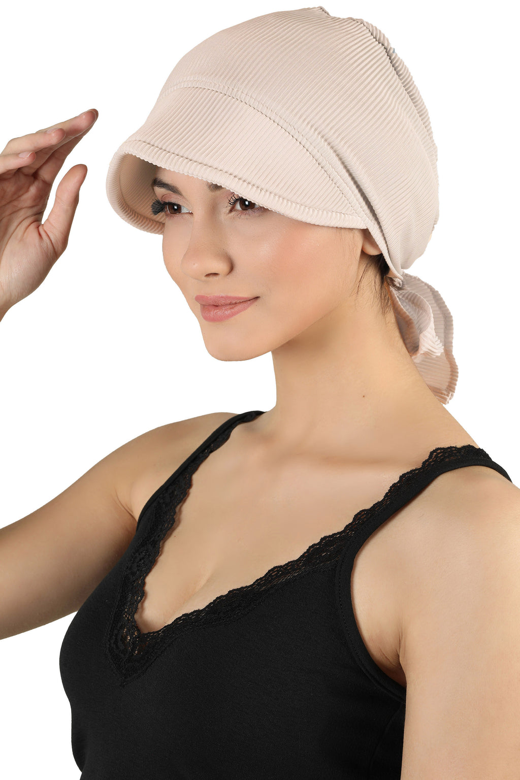 Tie Back Casual Pretty Hat - Beige