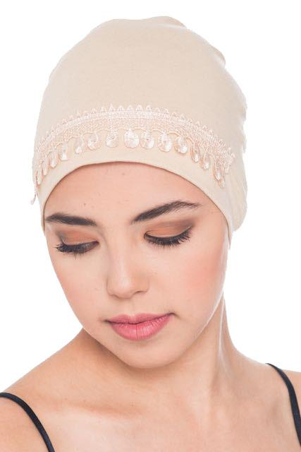 Deresina Lace detail sleep cap for hair loss beige