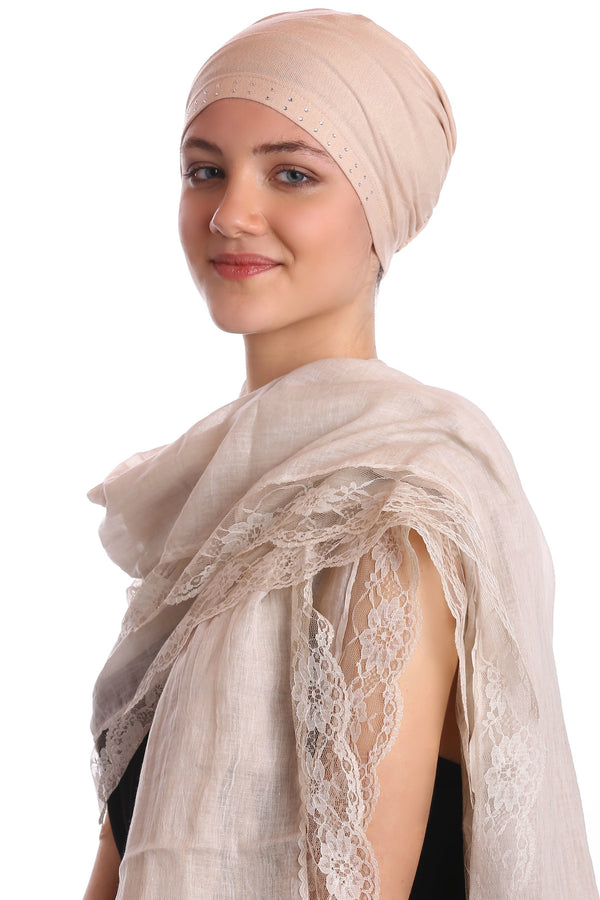 Pure Cotton Oversize Scarf with Lace Edges- Beige