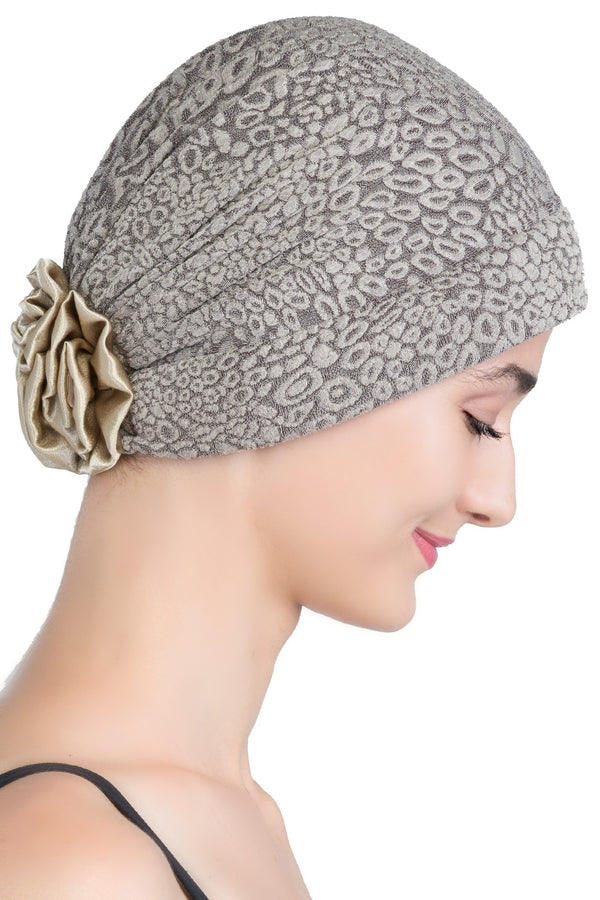 Deresina Brocade chemo headwear with satin rose